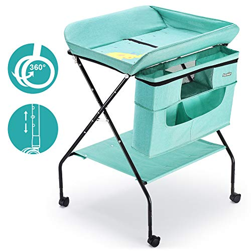 Best Deals! FORSTART Baby Changing Table with Wheels, Adjustable Height Folding Diaper Station Porta...