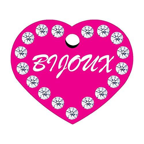 CNATTAGS-Swarovski-Crystals-Heart-Shape-Pet-ID-Tags-Premium-Aluminum-Engraved-Heart-Pink