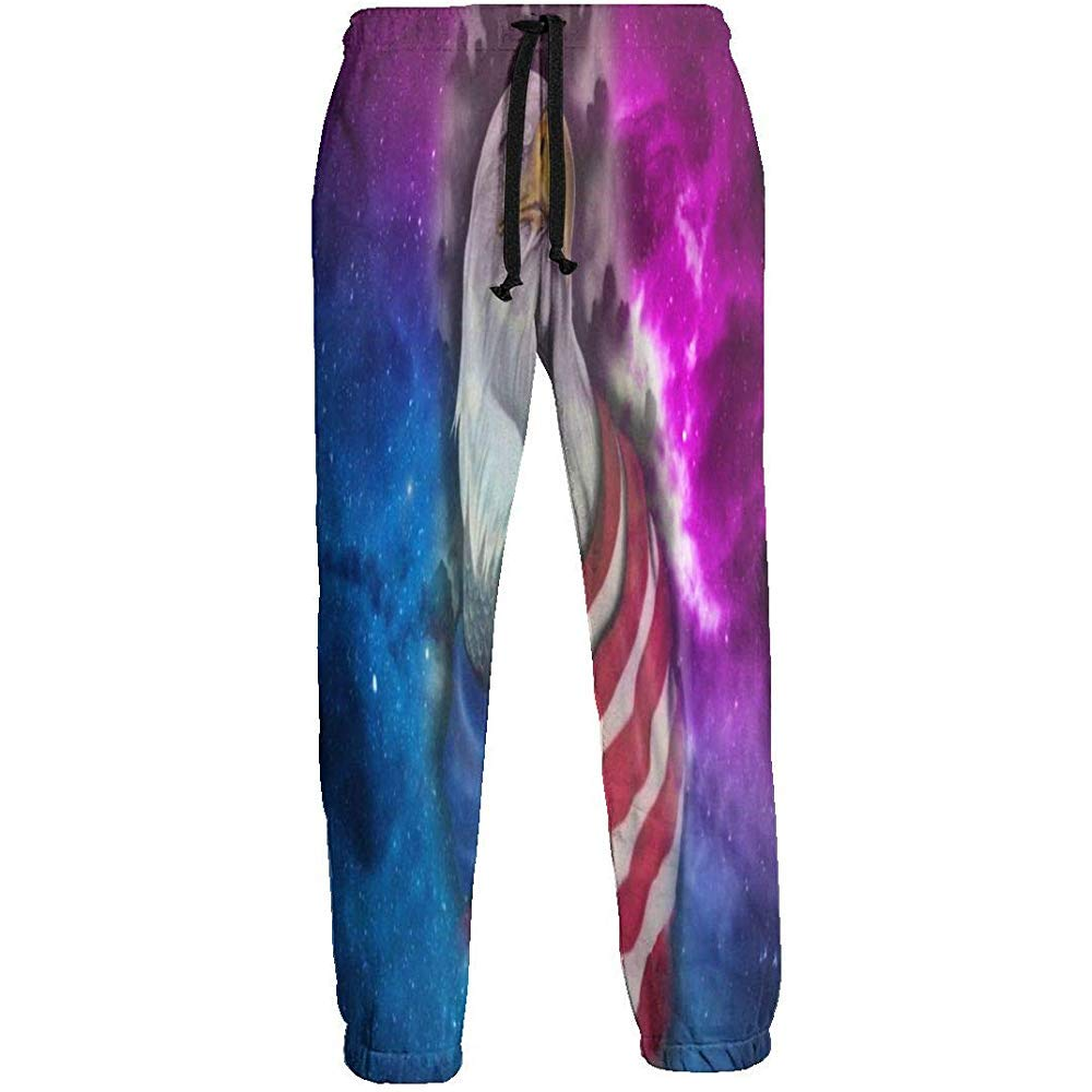Space Galaxy USA Flag Eagle Pantalones de chándal Athletic Jogger ...