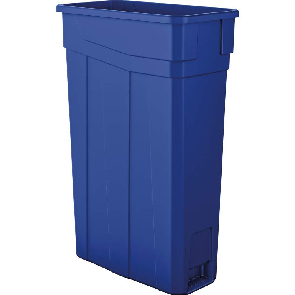 AmazonBasics 23 Gallon Commercial Slim Trash Can, No Handle, Blue, 2-Pack