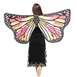 NUWFOR Christmas/Party Prop Soft Fabric Butterfly Wings Shawl Fairy Ladies Nymph Pixie Costume Accessory?D-Yellow?One Size?