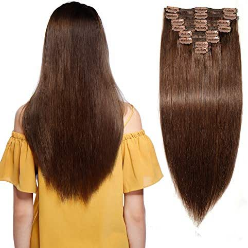 #4 Double Weft 100% Clip in Remy Human Hair Extensions Medium Brown Grade 7A Quality 14''-22'' Full Head Thick Thickened Long Soft Silky Straight 8pcs 18clips for Women Fashion 16