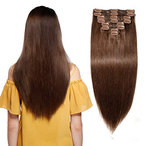 140g Double Weft Clip in 100% Remy Human Hair Extensions #4 Medium Brown Grade 7A Quality Full Head Thick Thickened Long Soft Silky Straight 8pcs 18clips for Women Fashion 18