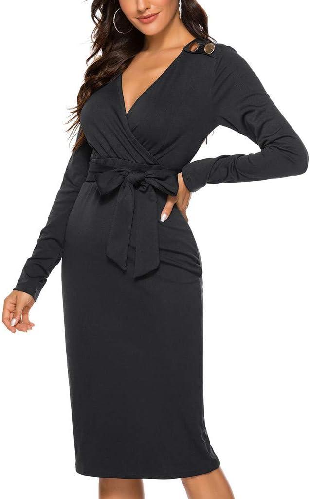 Damska solidna sukienka z długim rękawem i dekoltem w kształcie litery V, elegancka sukienka wieczorowa, na imprezę, do kolan, na jesień, bal, dopasowana, seksowna, bez plecÓw, na zimę.: Odz