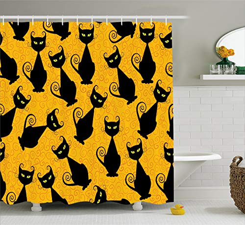 Ambesonne Vintage Decor Shower Curtain Set, Black Cat Pattern for Halloween On Orange Background Celebration Gift Graphic Patterns, Bathroom Accessories, 75 inches Long, Black Orange