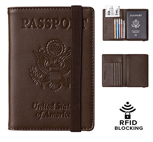 Travelambo RFID Blocking Leather Passport Holder Cover Case Travel Wallet Elastic Strap (Coffee NP deep B) ()