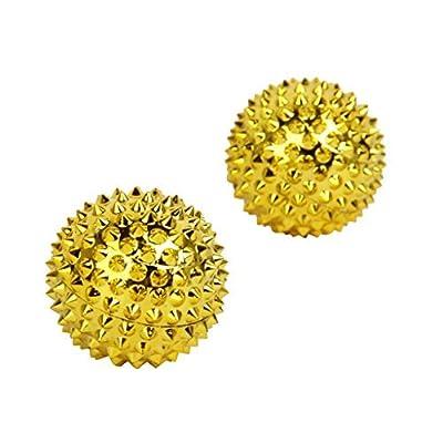 1 par de bolas de acupresión oro oro pequeño, diámetro: 32 mm