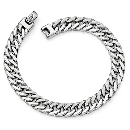 "Solid 14k White Gold Big Heavy Polished Men's Bracelet 8"" - with Secure Lobster Lock Clasp (9mm)"