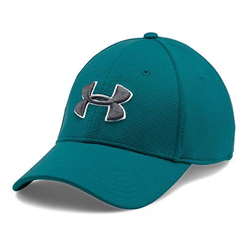 Under Armour Men's Blitzing II Stretch Fit Cap, Turquoise Sky/Graphite, Medium/Large