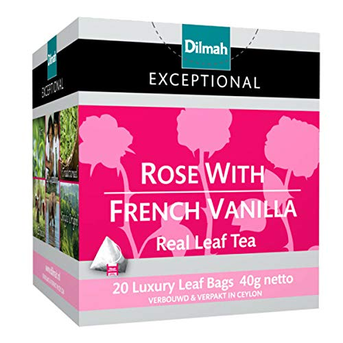 Dilmah Rose with French Vanilla Tea 20 Luxury Tea Bags - Dilmah Exceptional Real Leaf Tea Pure Ceylon French Vanilla Tea Box