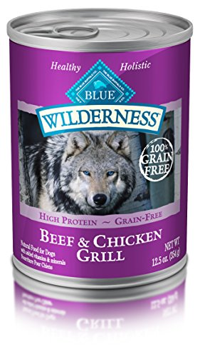 Wild Sales Buffalo - Blue Buffalo Wilderness High Protein Grain Free, Natural Adult Wet Dog Food, Beef & Chicken Grill 12.5-oz can (pack of 12)