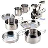 Camping Mini Cookware AIWAYING Cooking Tool Set Pot Pan (8pcs/set, 410 Stainless Steel) + Camping Stoves with Piezo Ignition For Trekking Hiking Backpack Picnic Outdoor EDC Tactical Sets
