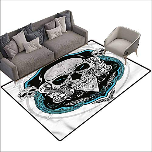 Large Floor Mats for Living Room Colorful Skull,Mexican Dead Head Skeleton 60