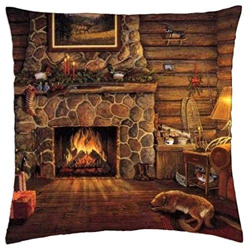 Kidmekflfr Log Cabin at Christmas - Throw Pillow Cover Case (18