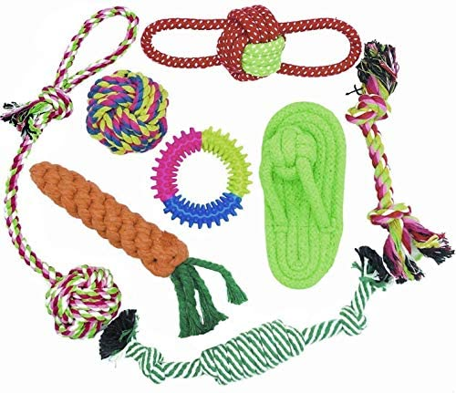 Puppy Toys, WeFine 8pcs Dog Chew Toys for Small and Medium Dog , Teeth Cleaning Training Rope Toy Set