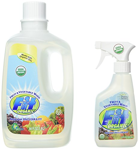 Organic Fruit Spray - Fit Organic Fruit And Vegetable Wash 12-Ounce Spray Bottle + 64oz Refill Bottle