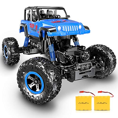RC Car, SHARKOOL Newest 2.4 Ghz 4WD RC Trucks 1/18 Scale Remote Control Car with Two Rechargeable Batteries, Off Road RC Crawlers Toy Car for Adults & Kids from SHARKOOL