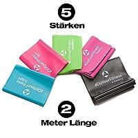 [5Stück] 2m Fitnessband aus 100% Latex in 5 unterschiedlichen Zugstärken...