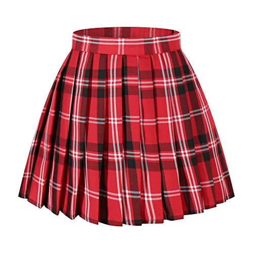 Women`s Cosplay Costumes high waisted Plaid Pleated Skirts (2XL,Red black -