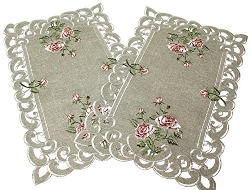 Doily Boutique Place Mats Set of 2 with a Pink Rose and Sage Green Burlap Linen Fabric, Size 11 x 17 inches
