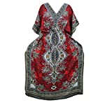 Bohemian Kaftan Red Dashiki Printed Caftan Beach House Dress Kaftan Boho Hippie XXL