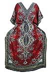 Womens Caftan Evening Wear Red Dashiki Print Bohemian Maxi Kaftan Dress