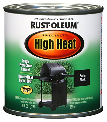 Rust-Oleum 7778730 1/2-Pint 8-Ounce Protective Enamel, Satin BBQ Black (Paint Fireplace Black)