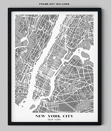 "New York City Map Wall Art - 11x14"" UNFRAMED Print for sale  Delivered anywhere in USA"