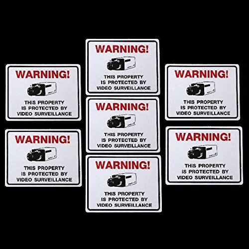 7 SQUARE SHAPED VIDEO SURVEILLANCE STICKERS SIGNS - - Red Arlo Tint