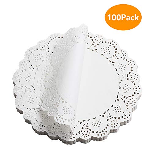 Paper Doilies, McoMce 100 Pieces Doilies Paper, Lace Doileys Paper Round Decorative Paper Placemats Bulk for Desert, Tableware Decoration, 9.5