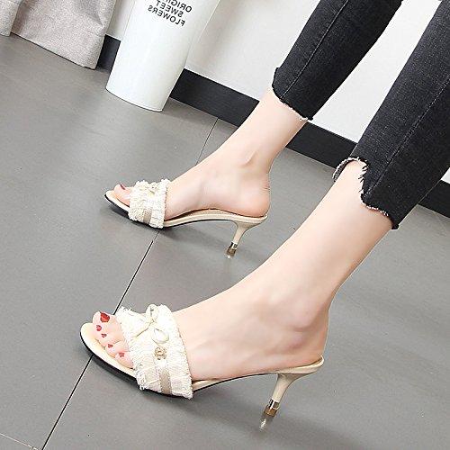 Xue Qiqi Cool zapatillas de moda femenina, el desgaste de un vellón-como el rocío, ambas de las cuales eran mujeres de celosía zapatillas Beige