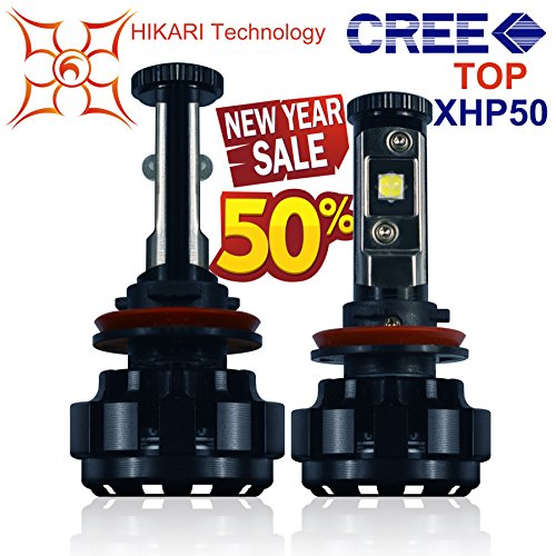HIKARI LED Headlight Bulbs Conversion Kit -H11(H8,H9),Top CREE XHP50 9600lm 6K Cool White,2 Yr Warranty (Eye of Megatron,Upgraded Version) (Kit Led Bulb compare prices)