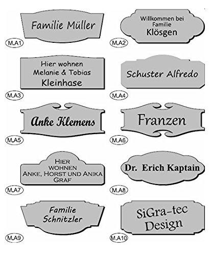 Namensschild / Briefkastenschild / Türschild in Kunststoff, AUSWAHL in Farbe, Form, Größe und Schrift, lieferbar in selbstklebend, oder mit Bohrungen zur Schraubmontage (100x40mm)