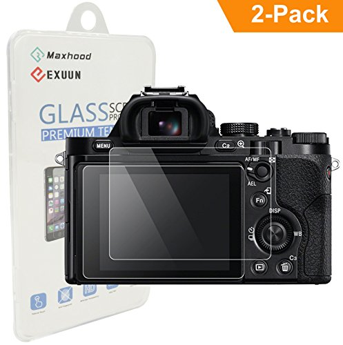 (2-Pack) Sony A7 Tempered Glass Screen Protector, Exuun Optical 9H Hardness 0.3mm Ultra-Thin DSLR Camera Screen Protector Glass for Sony A7