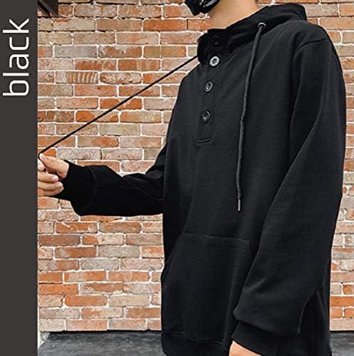 [ウルークレア] メンズ カジュアル シンプル デザイン ヘンリー ネック パーカー フロントボタン