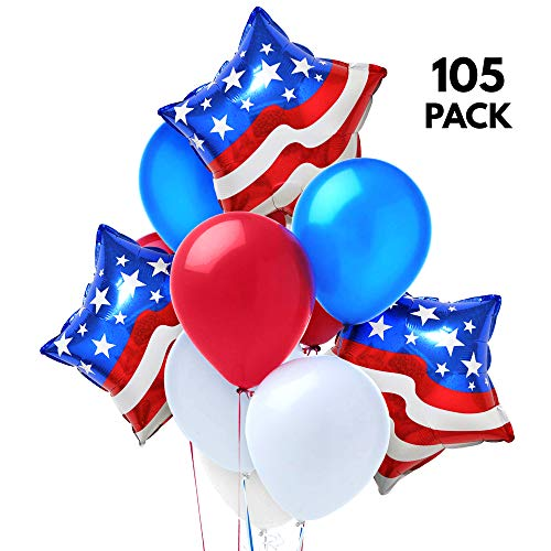 The Twiddlers 105 Patriotic Decorations 4th of July Party Balloons - 30 Blue 30 red 30 White Latex Balloon, 15 Foil Star Mylar Design Party Supplies - US Independence Day or Veterans Day Decoration ()