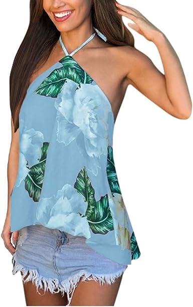 VEMOW Camiseta sin Mangas Mujer con Estampado Floral Top de Playa sin Mangas Correa de Espagueti Suelta Chaleco: Amazon.es: Ropa y accesorios
