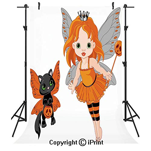 (Halloween Photography Backdrops,Halloween Baby Fairy and Her Cat in Costumes Butterflies Girls Kids Room Decor Decorative,Birthday Party Seamless Photo Studio Booth Background Banner)