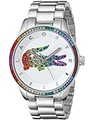 Lacoste Womens 2000869 Victoria Crystal-Accented Stainless Steel Watch