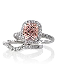 2 Carat Unique Morganite and diamond Bridal Ring Set on 10k White Gold