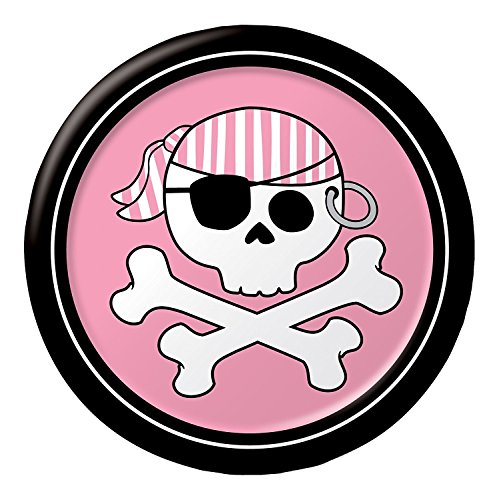 Creative Converting Pirate Parrty Girl Round Dessert Plates, 8 Count