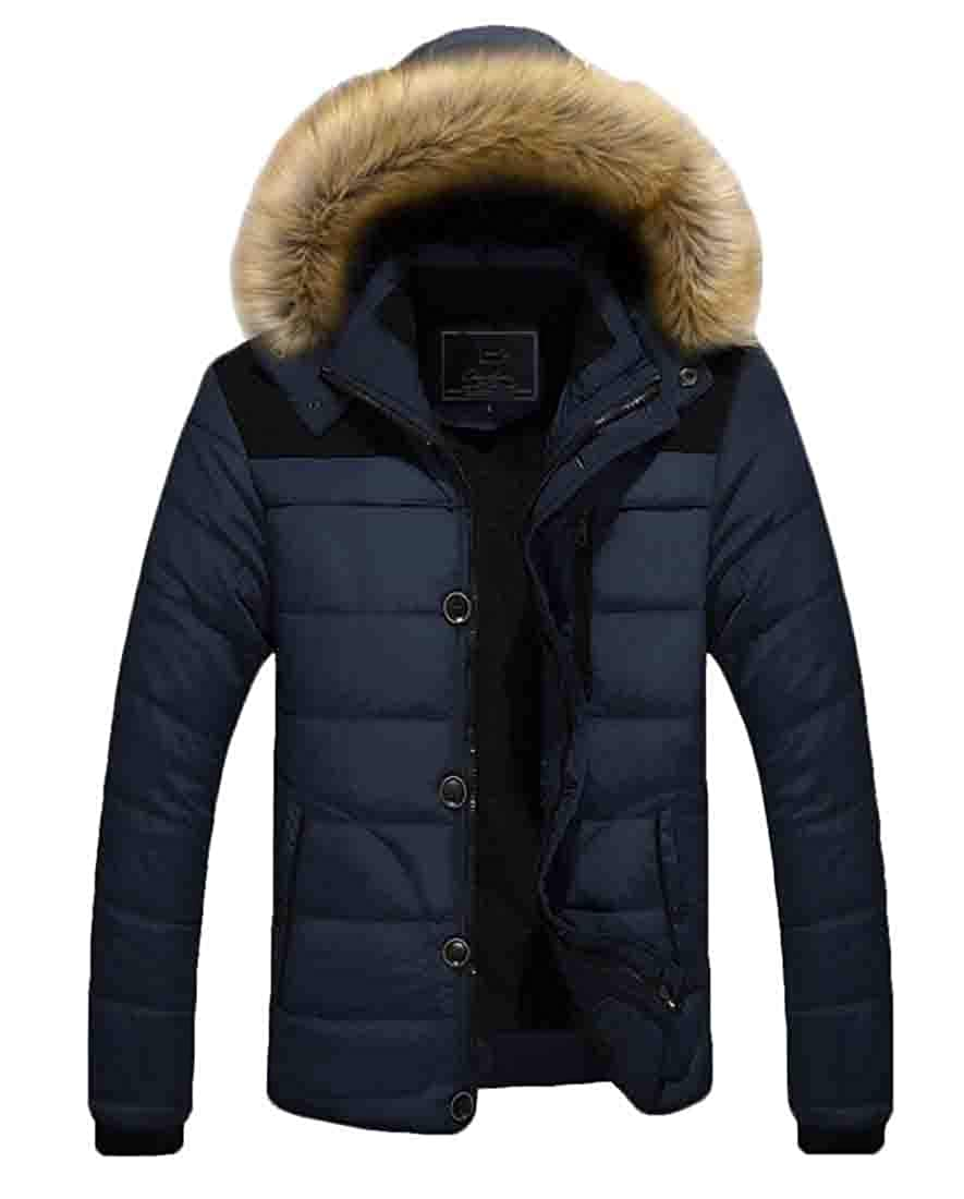 Keaac Mens Winter Fur Hooded Thick Cotton-Padded Quilted Down Jacket