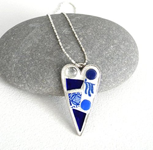 Stained Glass Heart Pendant (Mosaic Heart Pendant - Blue Willow China - Stained Glass and Vintage China Jewelry Necklace)