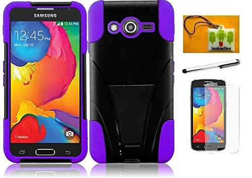 LF 4 in 1 Boundle - Hybrid Dual Layer Case with Kickstand, Lf Stylus Pen, Screen Protctor & Wiper Compatible with (T-Mobile) Samsung Galaxy Avant G386T (Stand Purple)