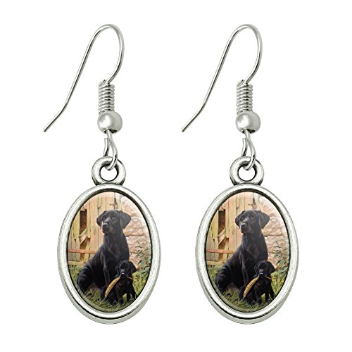 GRAPHICS & MORE Black Labrador Retriever Dog Puppy Novelty Dangling Drop Oval Charm Earrings