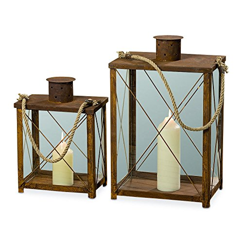 (Whole House Worlds The Adirondacks Old Forge Candle Lanterns, Set of 2, Rusty Distressed Metal, Rope Hanging Handles, Cross Post Construction, Raised Roof Vents, 20 1/2 and 14 12 Inches Tall)