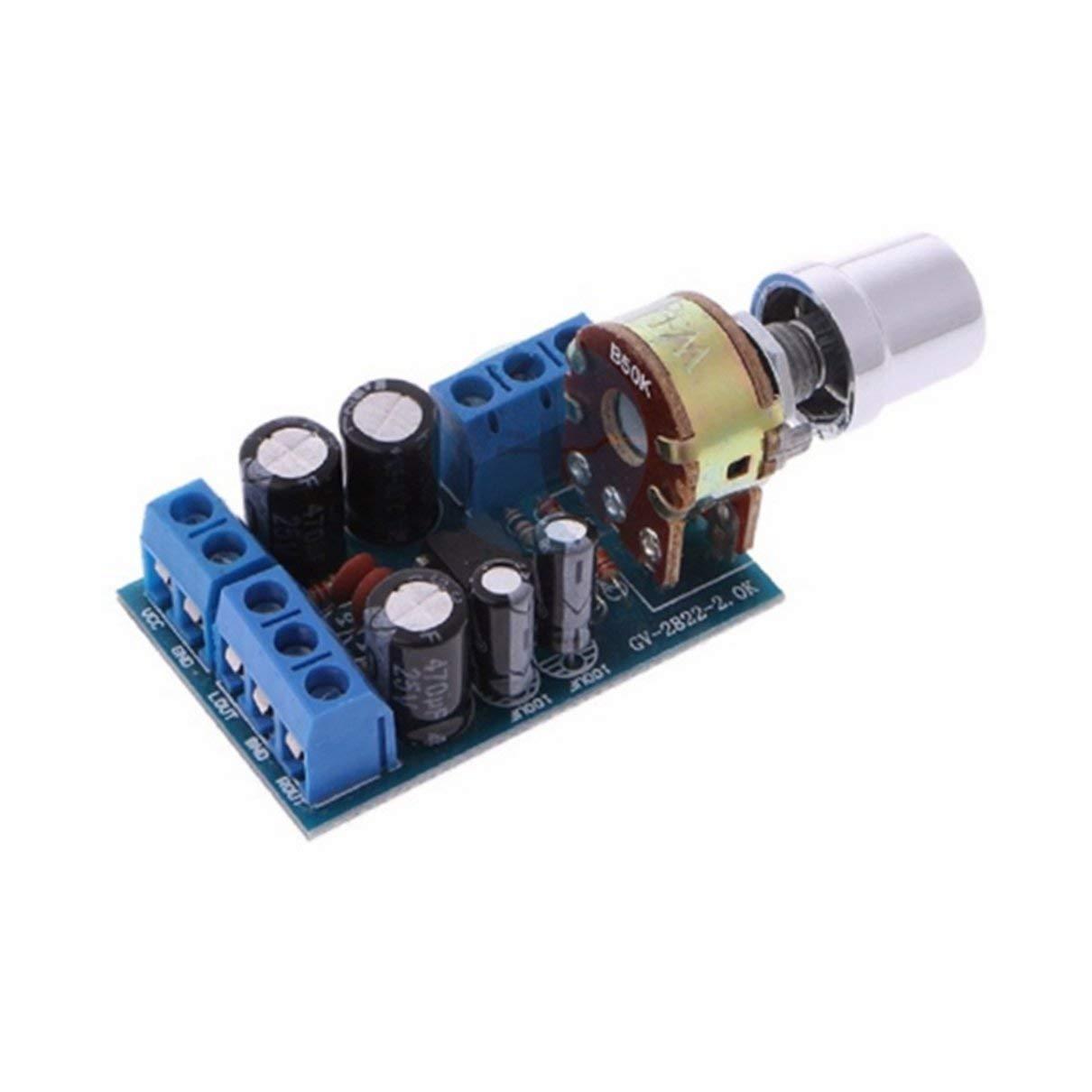 Monlladek Parti del modulo AMP del modulo Scheda Amplificatore Audio Mini AUX Stereo 2.0 2.0 TDA2822M DC 1.8-12V di Piccole Dimensioni