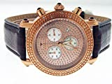 Aqua Master Round 40mm 20 Diamond Watch Rose Gold Face Brown Band