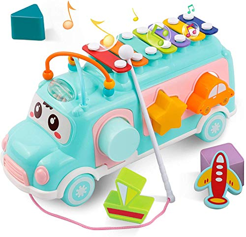 DeeXop Baby Toys 12-18 Months+ Activity Cube Toy Bus Includes Xylophone, Shape Sorter, Pull Along Toys for 1 Year Olds, Toddler Educational Toys for Musical Development and Shape Color Recognition