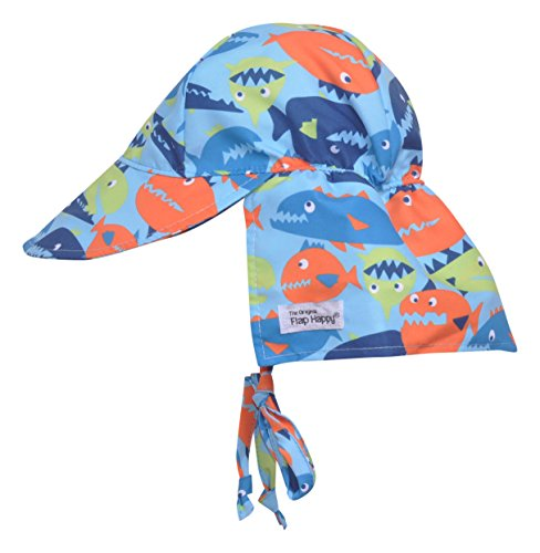 Flap Happy Baby Boys UPF 50+ The Original Flap Hat with Ties, Fish Frenzy, XS ()